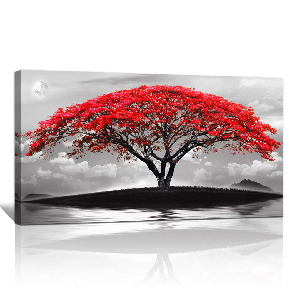 Canvas Wall Art For Living Room Bathroom Wall Decor Black And White Landscape Red Tree Moon Scenery Hang Painting Home Decorations For Office Bedroom Kitchen Works Canvas Prints Pictures 20 X 40 Inch