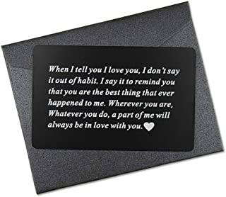 Vanfeis Engraved Metal Wallet Mini Love Note Insert Card - Birthday Gifts for Men, Him - Wedding Anniversary Gifts for Husband, Boyfriend - Unique Engagement Present for Groom, Deployment Gift Ideas