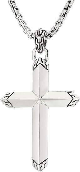 Classic Chain Cross Pendant Box Chain Necklace 26