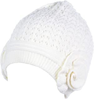an Womens Winter Hat Retro Lace Knit Plush Lined 2 Flower Mid Weight Many Colors