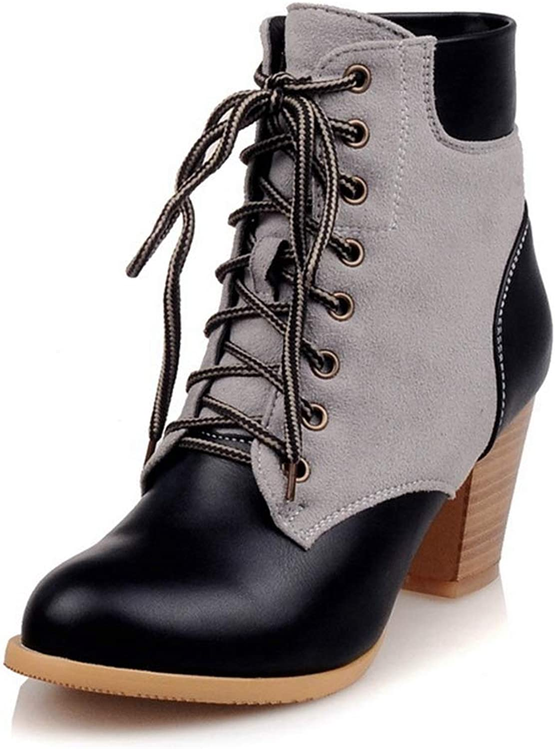 CYBLING Womens Two Tone Combat Boots Lace Up Chunky Heel Martin Ankle Booties