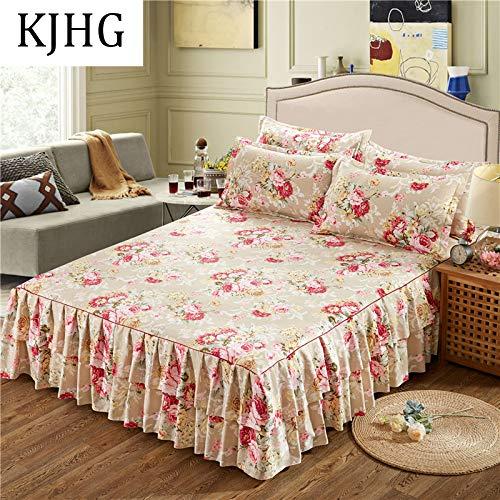 Bettrock Tagesdecke Rüschen Bett Rock Bett Volant Tagesdecke Mit Rüschen Faltenresistent Und Ausbleichen Beständig,D-200X220CM