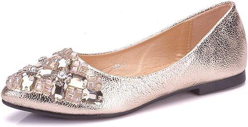 ZHRUI Rhinestone de Las damenes Vestido de Novia sintético sin Cordones cómodos Pisos (Farbe   Gold-Flat, tamaño   6 UK)