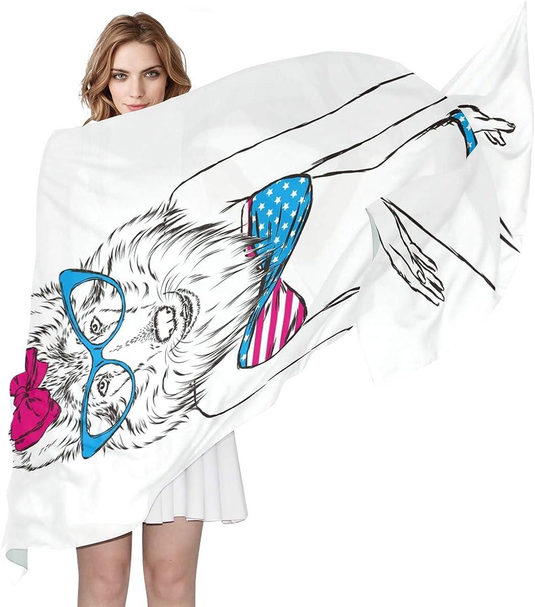 XLING Fashion Scarf Funny Animal Dog Swimsuit Long Lightweight Sunscreen Scarf Shawl Wrap Muffler Neckerchief for Women Men