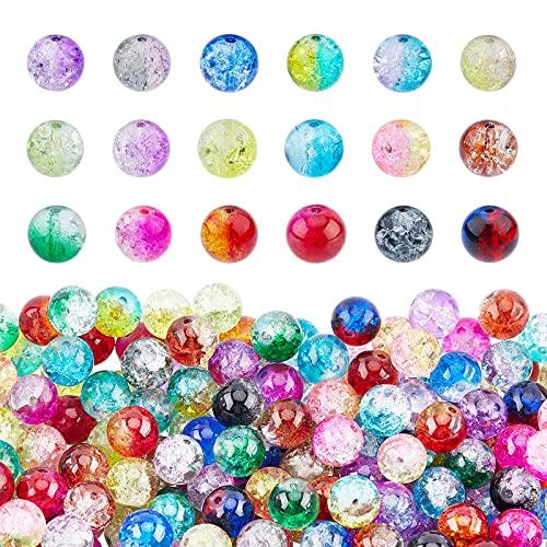 PandaHall Cuentas de cristal Crackle 15 colores 10 mm cuentas de cristal 270 piezas con tijeras, hilo de cristal elástico, agujas de abalorios para collares, pulseras, pendientes