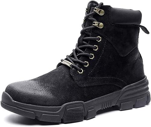 Apragaz Desert Chukka Stiefel für Herren, Casual Lace-Up Ankle Dress Stiefel Stilvolle High Top Wildleder Lederschuhe (Farbe   Schwarz Größe   45 EU)