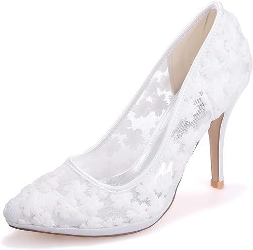 Elobaby Femmes Chaussures De Mariage en Dentelle Soie Ivoire Pointue comme Talon Haut Robe à Bout Fermé Robe Nuptiale Mi Chaton Talon 9.5Cm