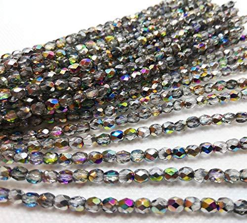 Kristall Glas Perlen Strang Preciosa Böhmische Glasschliffperlen 4mm Feuerpoliert Facettiert Rund CZ Tschechische Druckperlen Farbauswahl (Vitrail Medium AB)