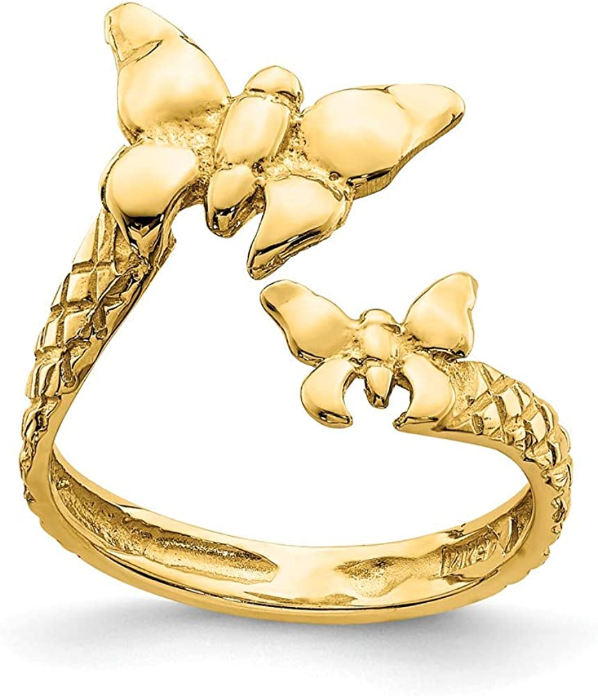 Solid 14k Yellow Gold and Textured Butterfly Toe Ring Adjustable