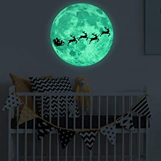 Dndnchun Glow in The Dark Moon Wall Sticker - Santa Sleigh Car Luminous Moon Removable Wall Sticker, Home Christmas Decoration for Kids Boy and Girl Bedroom Nursery Decor Kindergarten Decoration
