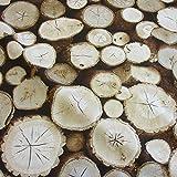 Stoff Meterware Baumwolle braun Holzscheiben Baumstamm