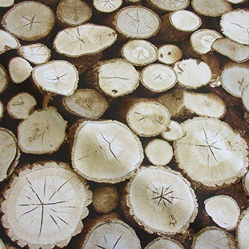 Stoff Meterware Baumwolle braun Holzscheiben Baumstamm Fotodruck Dekostoff