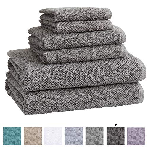 6-Piece 100% Cotton, Ultra-Absorbent Popcorn Towel Set. 6 Elegant Solid Colors. Popcorn Weave. Acacia Collection. (6pc set, Dark Grey)