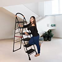 Parasnath Black Heavy Folding Ladder with Wide Steps Milano 6 Steps Ladder 6.1 Ft - Made in India