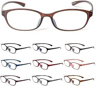 MIDI-ミディ 老眼鏡 ブルーライトカット 紫外線カット リーディンググラス 軽量 おしゃれ メンズ レディース マットブラウン (M-210,C4,+1.50)