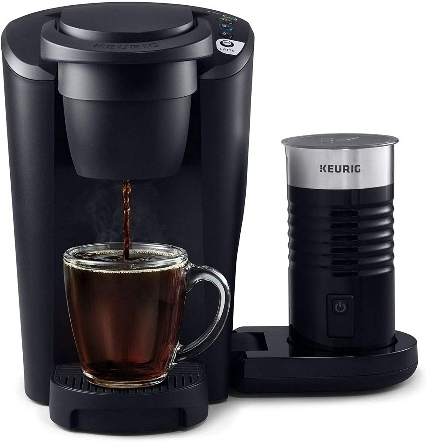 Keurig K-Latte Single Serve K-Cup Coffee and Latte Maker, Comes with Milk Fredher, Compatible With all Keurig K-Cup Pods, Matte Black