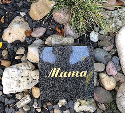 Stone & More Grabplatte mit Gravur Mama Granitplatte Impala Grabstein Liegestein Urnenstein 20cm x 20cm x 5cm mit Gravur Mama Mama Gedenkstein Impala