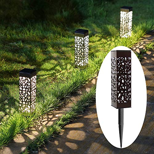 MAGGIFT 6 Pack Outdoor Dual-use Solar Pathway Lights Upgrade Brown Stainless Steel Solar LED Light, 8 Lumen Bright Garden Light, Patio Lawn Driveway Landscape Decorations, Warm White