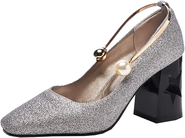 Artfaerie Womens Sequin Pumps Block High Heel Metal Ring Wedding Bridal Glitter Court shoes