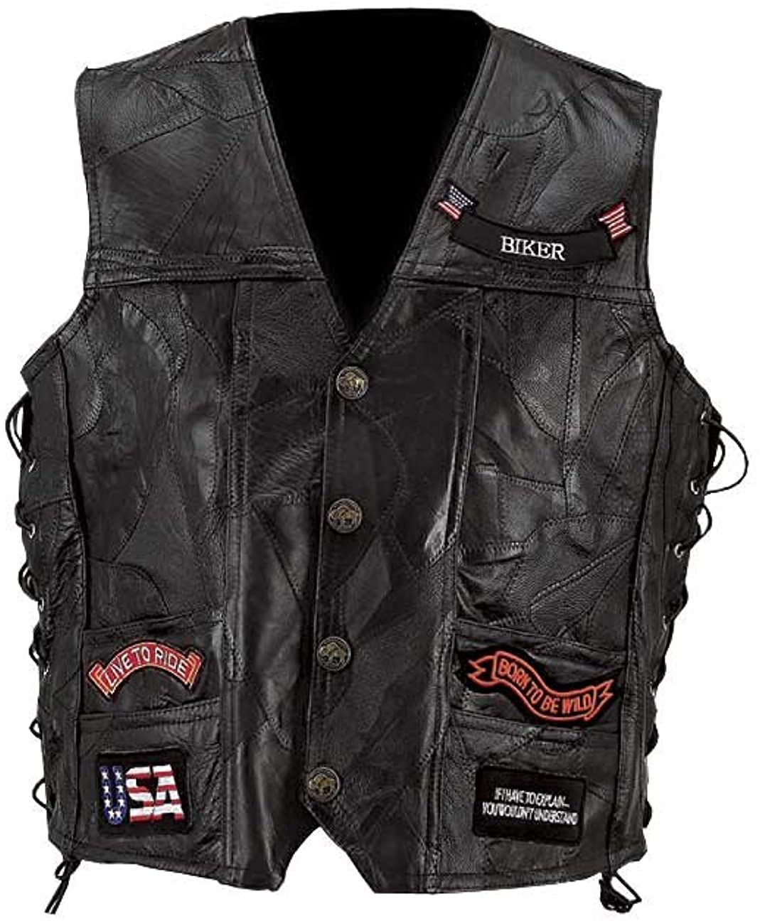 Diamond Plate Genuine Leather Motorcycle Vest w/14 Patches