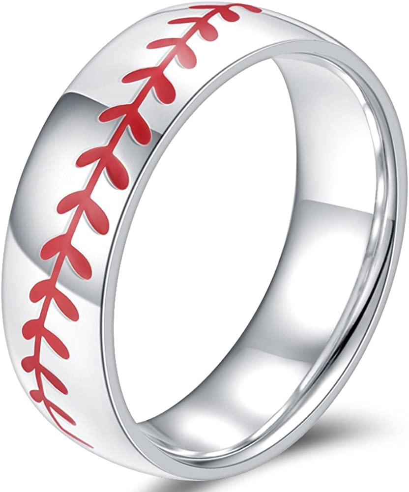 Jude Jewelers 8MM Stainless Steel Sports Baseball Ring Domed Style Simple Plain Wedding Band