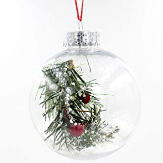 APSAMBR®-6 Pieces Clear Plastic Ornaments Christmas Ornament Balls Shatterproof Fillable Ornament Xmas Balls for Christmas...