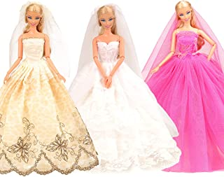 BARWA 3 Sets Doll Clothes Wedding Dress with Veil Bride Princess Evening Gown Dress Outfit for 11.5 Inch Girl Doll