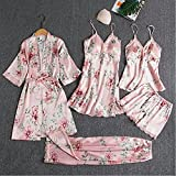 ZJLX Pijamas Mujer Pijamas de 5 Piezas Set Pijamas de satén
