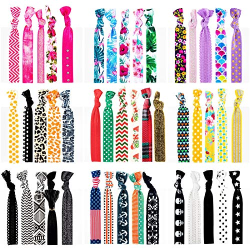 79STYLE 46pcs Elastic Hair Ties Ouchless Ribbon Hair Ties Pattern No Crease Ponytail Holders Girls Hair Ties Cute Hair Accessories, Hand Knotted Fold Over Solid Colors (46 Multiple Colors)