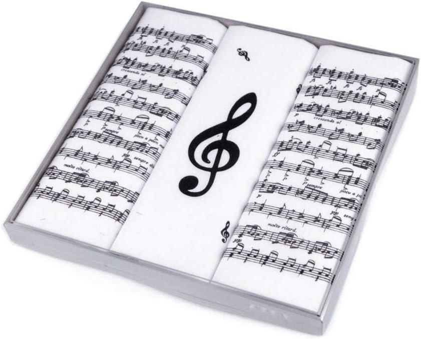 1box White Men's Handkerchief Gift Set Music Notes, Mens Handkerchiefs, Fashion Accessories