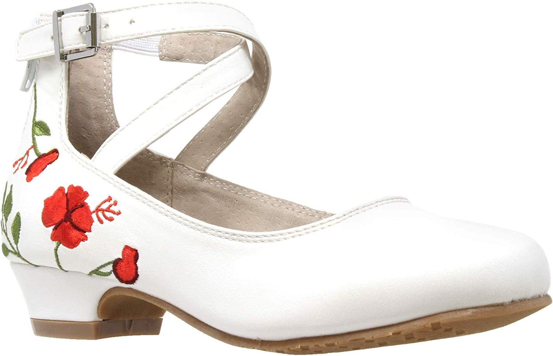 SOBEYO Luxury Girl's Dress Sale Pumps Shoes Mary-Jane Heel Embroidered Block