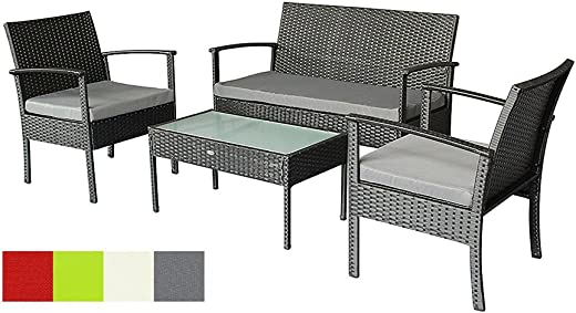 B07FD89J9P✅Oakside Small Patio Furniture Set Outdoor Wicker Porch Furniture Loveseat and Chairs with Extra Cushion Covers for Replacement (Grey)