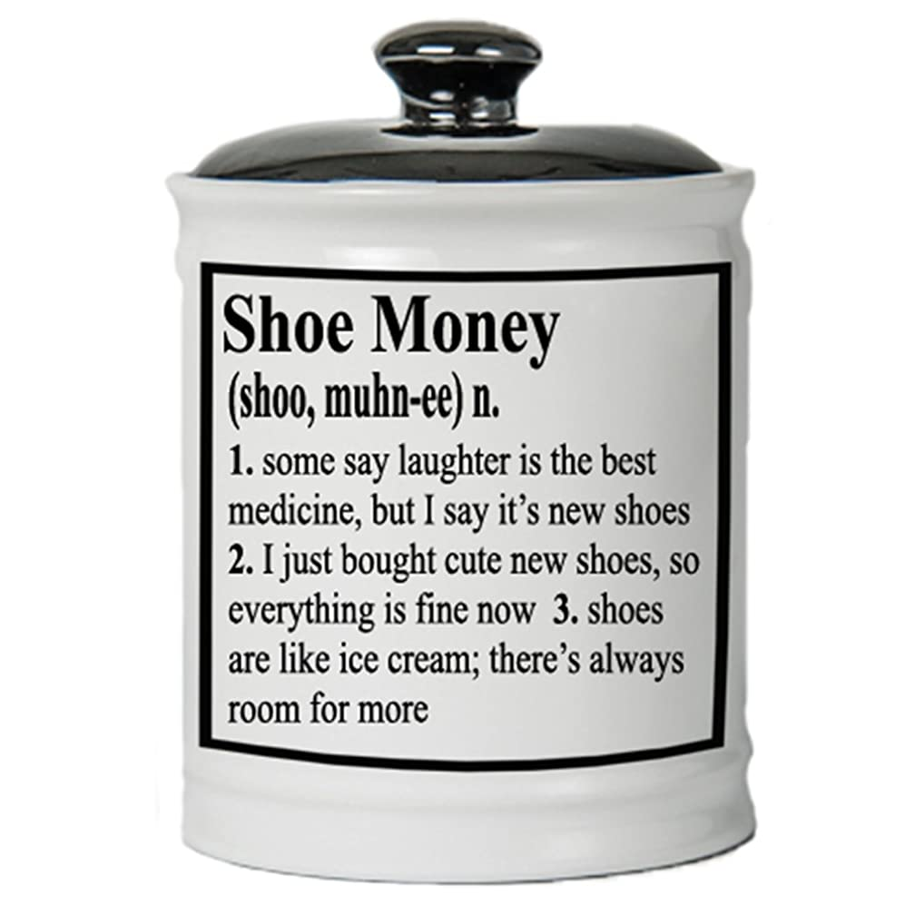 Cottage Creek Shoes Round Ceramic Shoe Money Piggy Bank Shoes Coin Bank Ceramic Decorative Jar/Funny Gifts for Women Shoe Lovers Shoe Gifts [White]