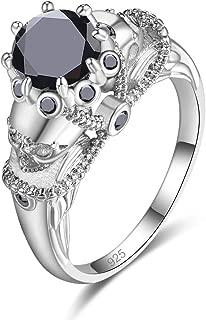 925 Sterling Silver Created Black Spinel Filled Skull Ring for Women