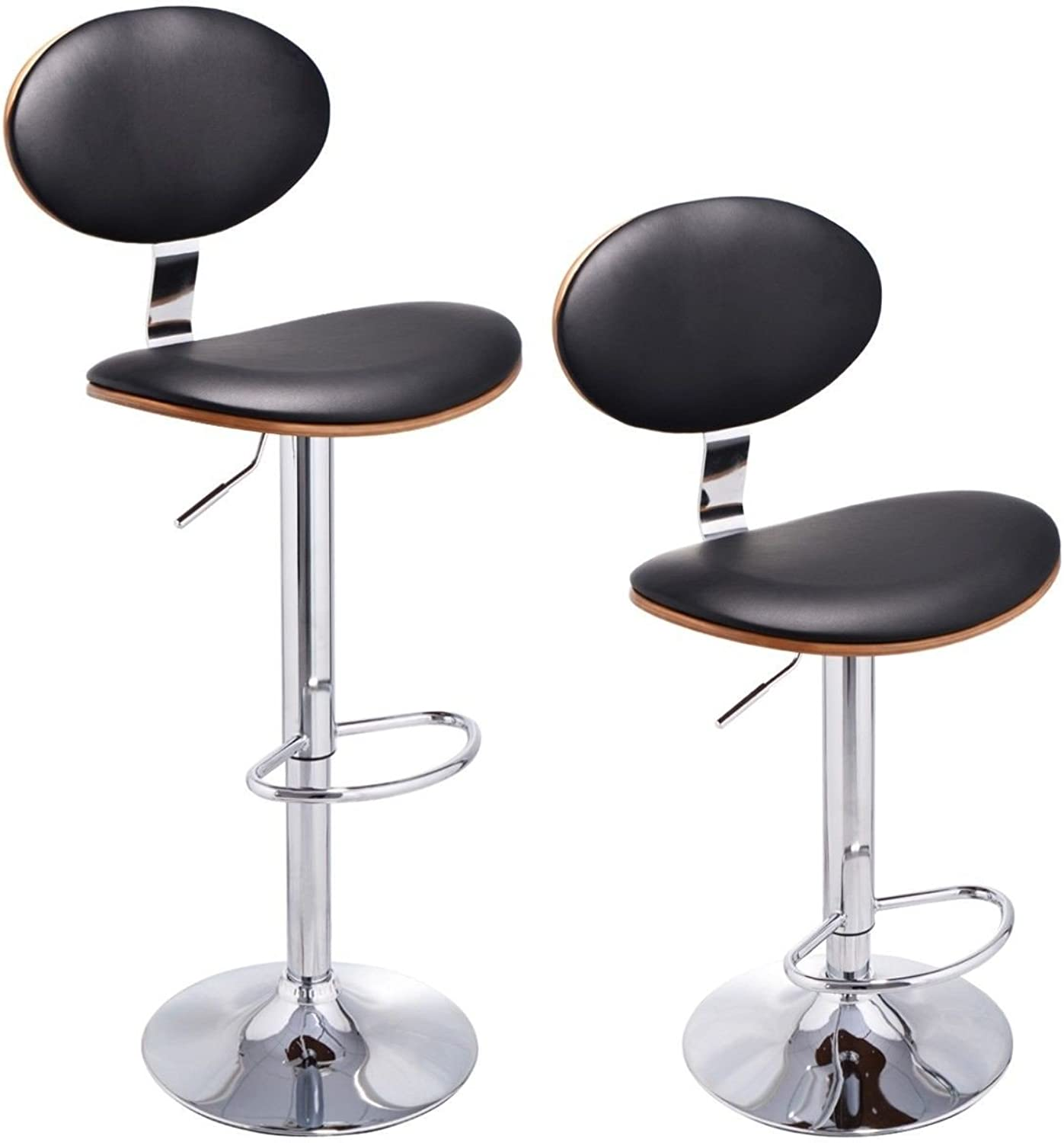 Imtinanz Set of 2 Modern Bentwood Swivel Bar Stools