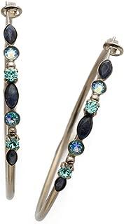 Sorrelli Core Antique Crystal Rock Large Mixed Media Hoop Earrings