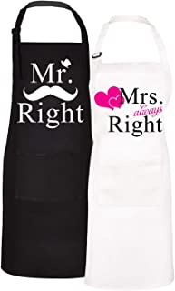 Claswcalor 2 Pack Couple Cooking Aprons with Pockets, Mr. Right and Mrs. Always Right Romantic Kitchen Aprons, Waterproof ...