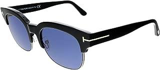 2018 Tom Ford Harry-02 FT0597 01V Men Black Gold T-Logo Clubmaster Square Sunglasses