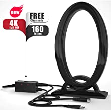 Digital TV Antenna, HDTV Antenna Indoor, Portable TV Antenna 80-120 Miles Long Range, HD Antenna with Amplifier Signal Booster Support 4K 1080P HD, 16ft Coaxial Cable USB Power Supply Adapter
