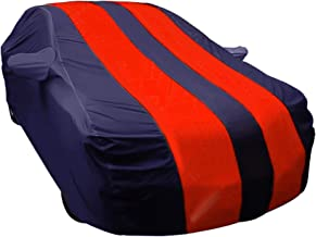 ARNV Car Body Cover for i20 Built Fabric, Comes with Pocket Mirror and Belt Blue & Red