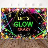 Mehofoto Let's Glow Crazy Backdrops Glow Birthday Party Banner Decoration 7x5ft Vinyl Laser Neon Splatter Paint Photo Booth Backdrops