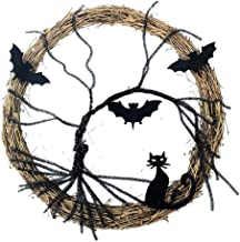 NC Grinalda de Halloween Atmosfera Festiva Grinalda Iluminar Gato Negro de Morcego para Janela