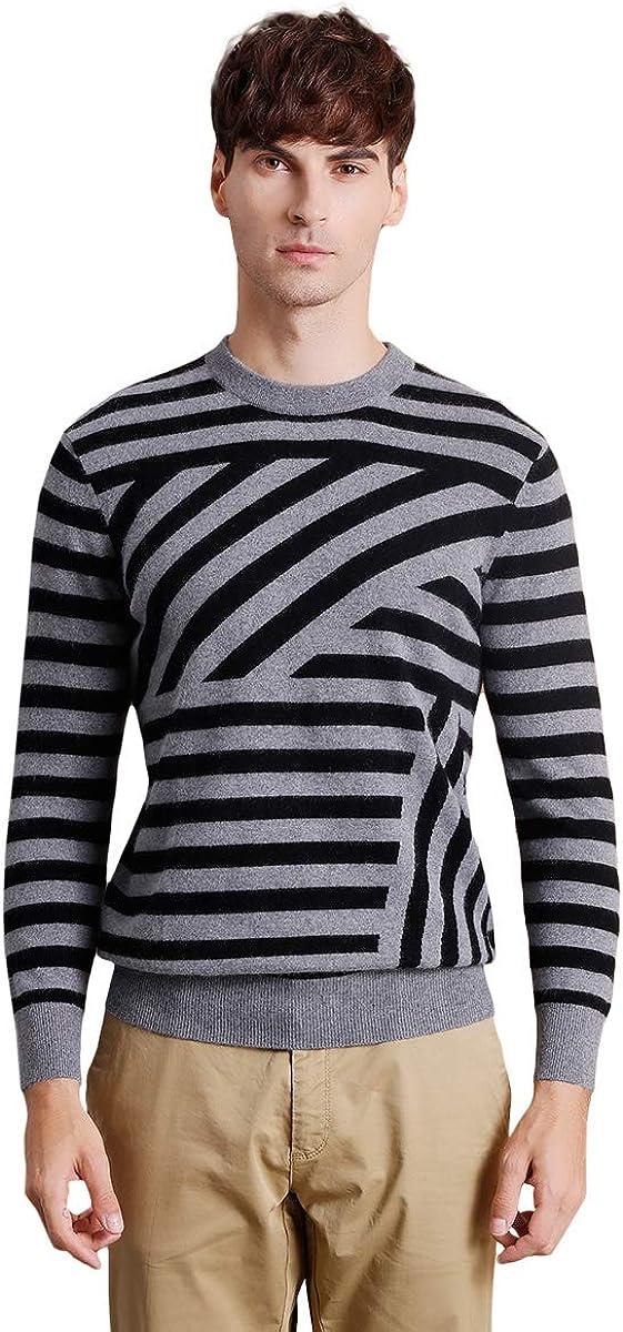 zhili Men's Slim Fit O-Neck Pullover Cashmere Sweater