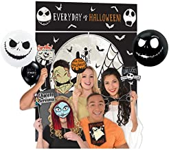 Nightmare Before Christmas Party Supplies Decoration Set with Backdrop, Photo Props and Balloons