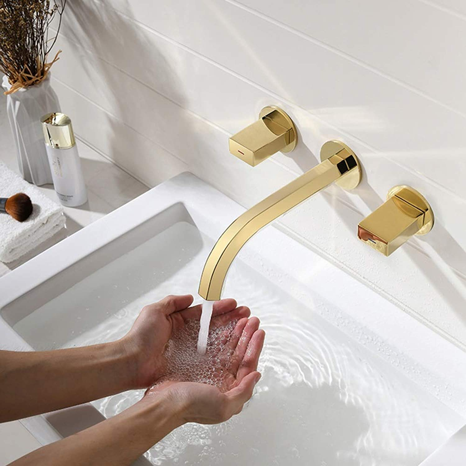 AmzGxp gold All-copper Wall-mounted Lavatory Faucet Bathtub Faucet Set Hot And Cold Washbasin Mixer