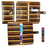 Emartbuy Brown Vintage Stripes PU Leather Wallet Case Cover