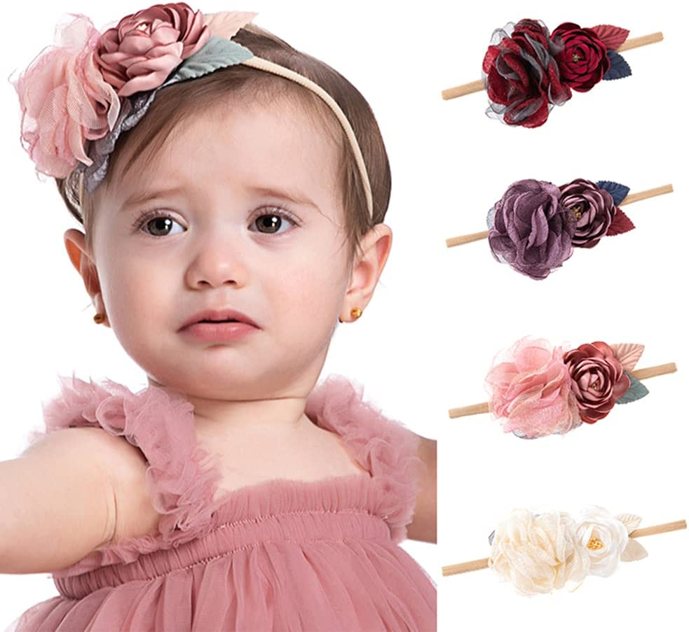 Wiwpar Flower Crown Headband Gauze Headwear Elastic Adjustable Head Piece Girl's Hairbands for Toddler and Childrens (Pink)