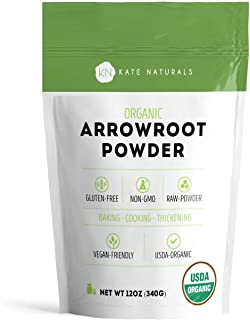 Arrowroot Flour Organic - Kate Naturals. Perfect For Baking, Cooking, Thickening Sauces and Gravy. Good for Dry Shampoo and Deodorant. Resealable Bag. Gluten-Free and Non-GMO. 1-Year Guarantee