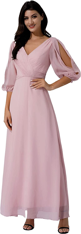 JEEYJOO Women specialty shop Puff Sleeves Pleated Long Choice E Dress for Maxi Chiffon
