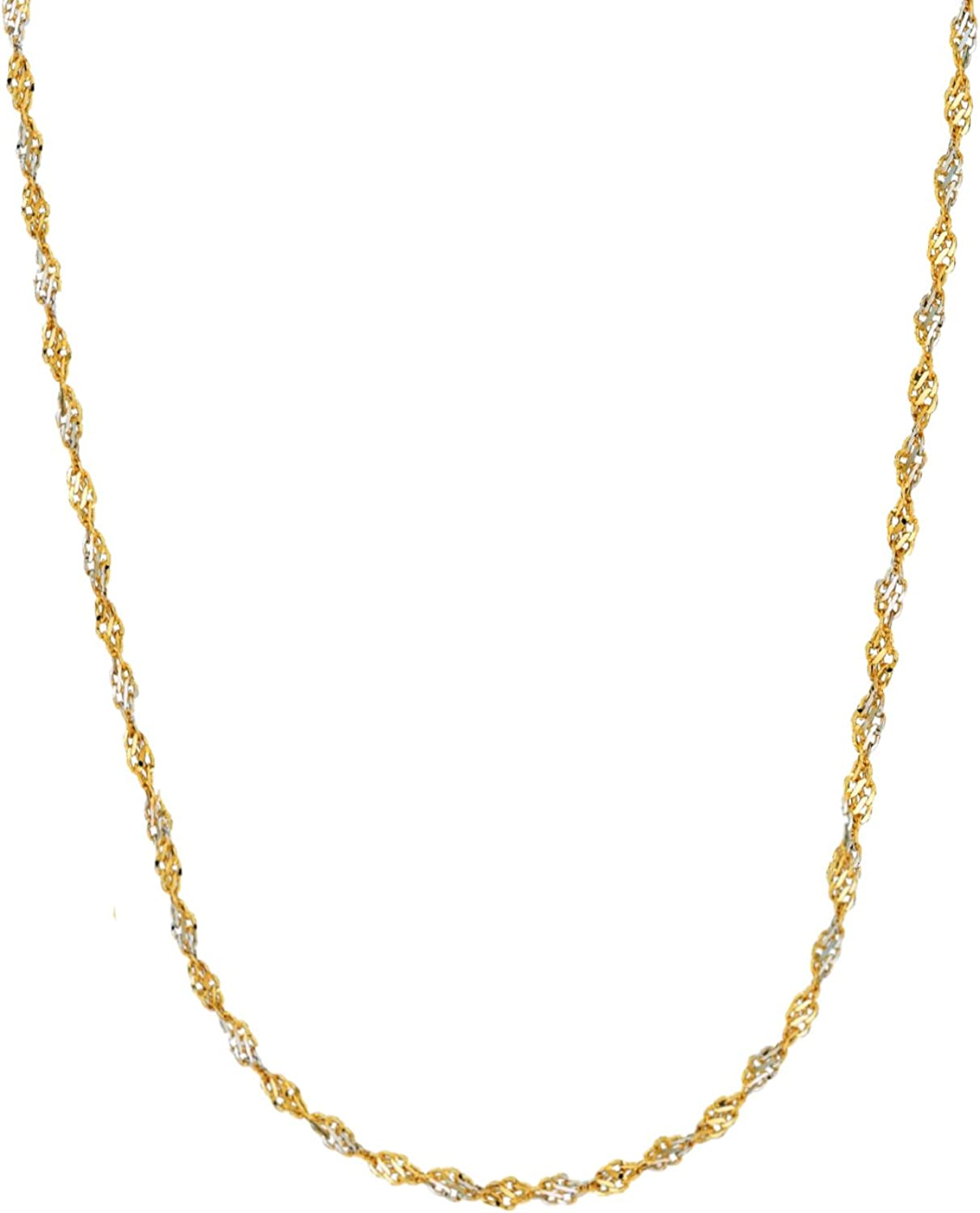 Ritastephens 14k Gold Yellow and White Two Tone Singapore Chain Necklace (1.35mm, 2mm)